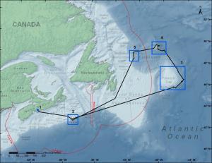 Itinéraire original de l'expédition au large de la côte est du Canada à bord du NGCC Hudson. L'exploration du site 5 (Tobin's Point) a été annulée en raison d'une succession de retards imprévus.