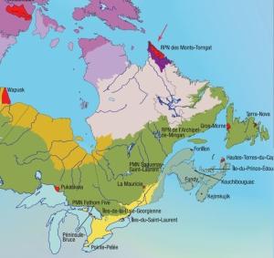 Détail de la carte « Les parcs nationaux du Canada et la carte des écozones terrestres », montrant le parc national des Monts-Torngat.
