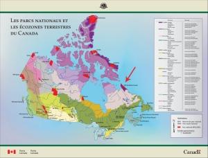 Carte : Les parcs nationaux du Canada et la carte des écozones terrestres; une flèche désigne le parc national des Monts-Torngat.