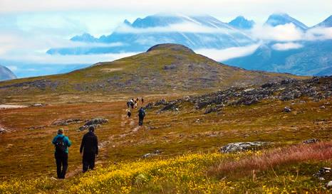 Des randonneurs gravissent une colline sur l'île Unatoq, au Groenlad. On voit de hautes montagnes ennuagées à l'arrière-plan.