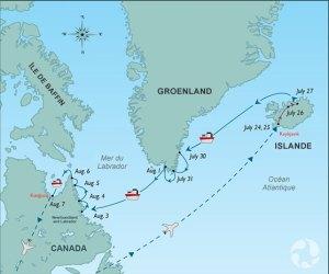Une carte montrant l'itinéraire de l'expédition.