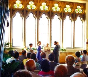 Vue de la cérémonie de mariage de Steve et Penny Cumbaa.