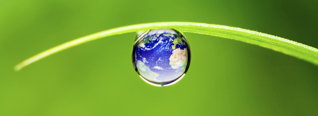 Une goutte d'eau suspendue à un brin d'herbe avec une image de la Terre en surimpression.