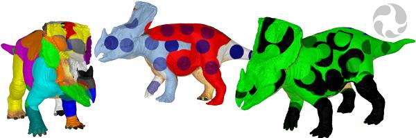 Des modèles 3D de Vagaceratops irvinensis colorés de façon fantaisiste avec des rayures, des pois et des couleurs vives.