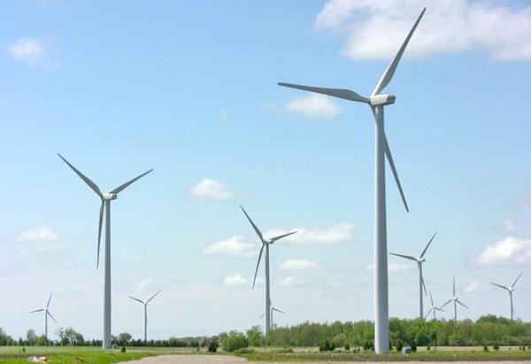 Une prise de vue du film L'énergie au pouvoir montrant un champ d'éoliennes.