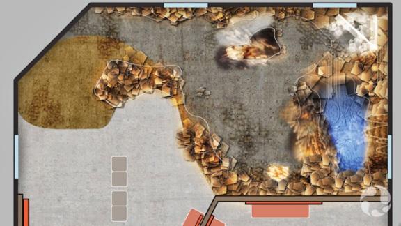Plan de la grotte qui sera installée dans la Galerie de la Terre Vale.