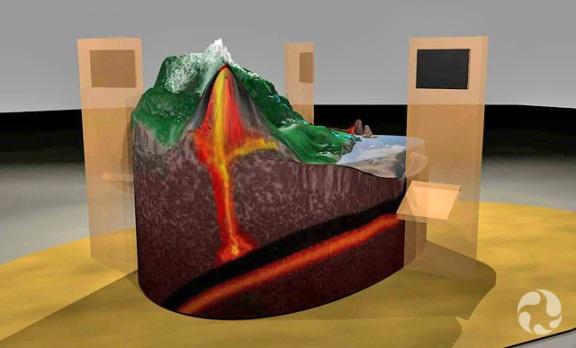 Illustration d'artiste montrant un modèle de la Terre au sein duquel on aperçoit de la lave.