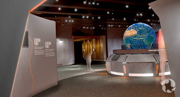 Illustration d'artiste montrant des visiteurs entourant un large modèle de la Terre illuminé.