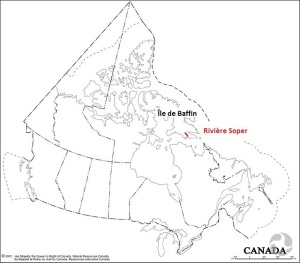 Une carte du Canada où sont identifiés l'île de Baffin et la rivière Soper, au Nunavut.