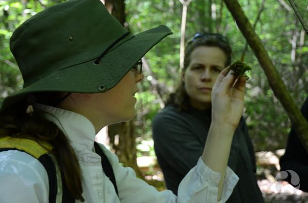 Une femme montre à une autre femme un spécimen de mousse qu'elle tient entre ses doigts.