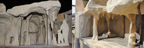 Deux photos montrant le modèle d'argile.