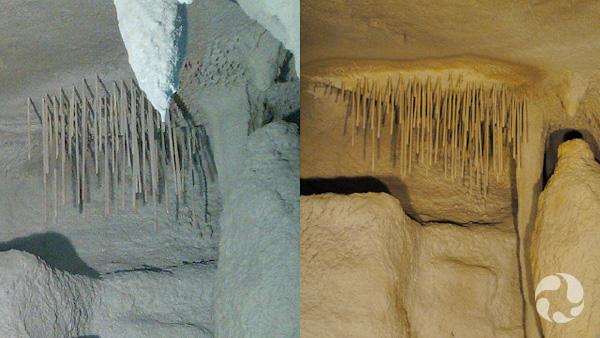 Deux photos : Un élément du plafond avant et après la peinture.