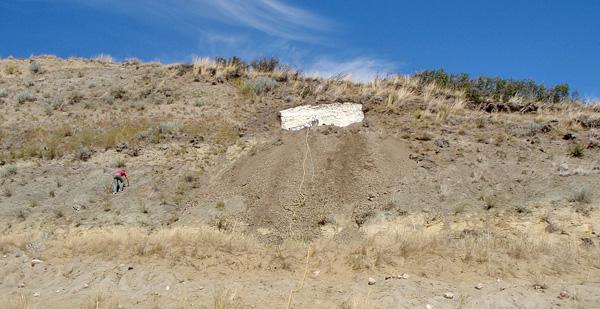 Vue du site où s'est effectuée la prise l'empreinte sur la pente d'une colline.