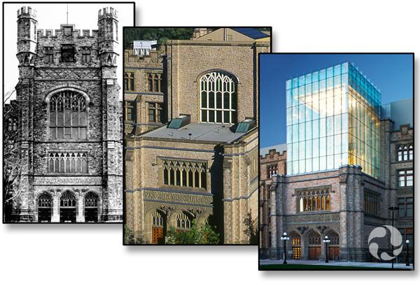 Trois photos montrant le Musée : avec la tour originale (archive photo CMN15276), une fois la tour enlevée et avec la nouvelle tour.
