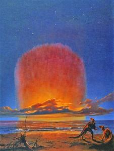 Illustration de deux dinosaures sur une plage avec en arrière plan la chute de la météorite.