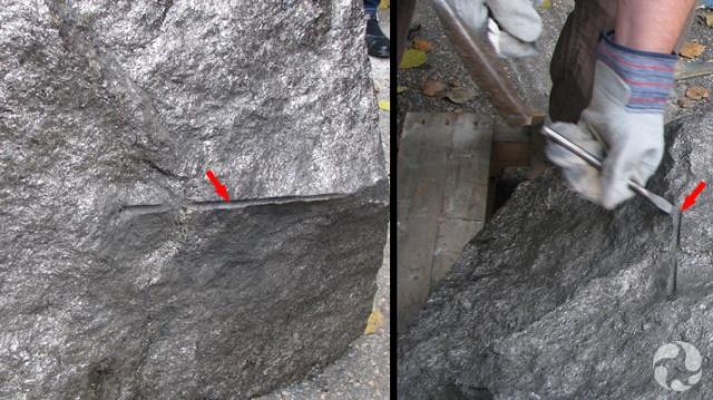 Deux photos : Une montrant  le trou de forage et l'autre, une personne en train de le faire disparaître à l'aide d'un ciseau.