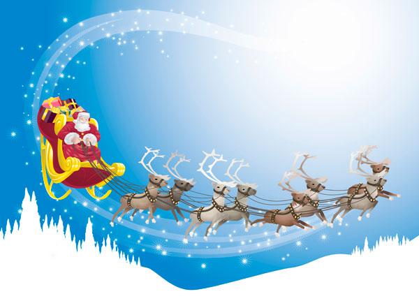 Illustration: huit rennes gris pâle portant des bois imposants tirent le traineau du Père Noël dans le ciel.