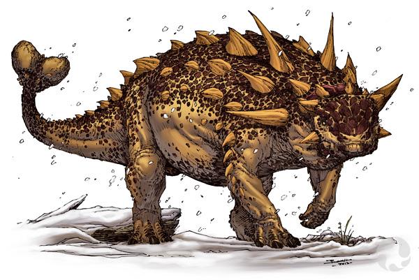 Illustration d'un ankylosaure avec sa massue caudale.
