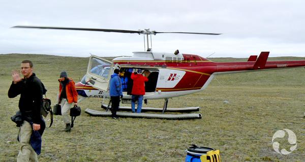 Quatre personnes sortent d'un hélicoptère posé sur la toundra.