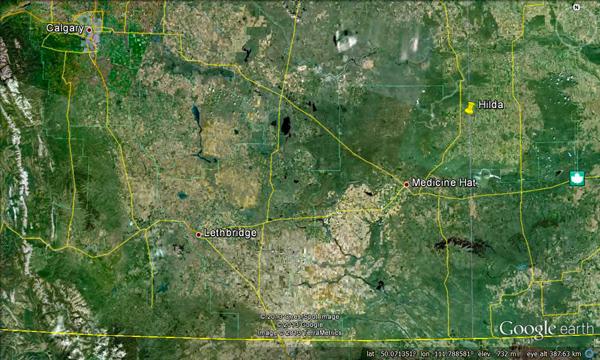 Carte de la rivière South Saskatchewan près de Hilda en Alberta.