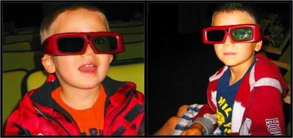 Collage de photos montrant un jeune garçon avec des lunettes 3D.