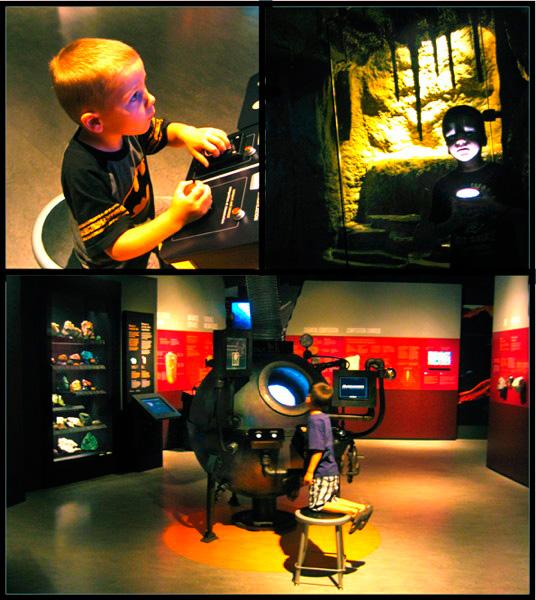 Collage de photos montrant deux garçons participant aux activités interactives de la Galerie de la Terre Vale.