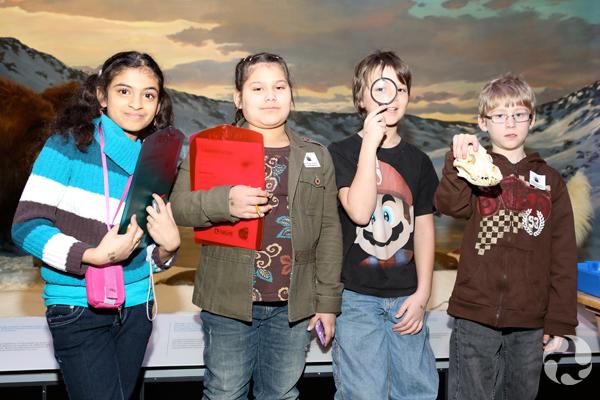 Deux filles et deux garçons devant un diorama au Musée. L'un des garçons tient une loupe dans ses mains et l'autre, le crâne d'un animal.