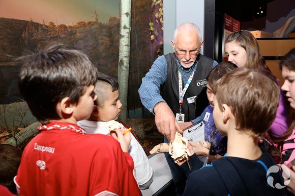 Un bénévole montre un crâne de mammifère à un groupe d'élèves.
