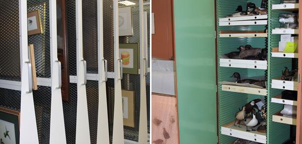 Collage : Panneaux de rangement d'oeuvres d'art bidimensionnelles encadrées et armoires à étagères contenant des sculptures.