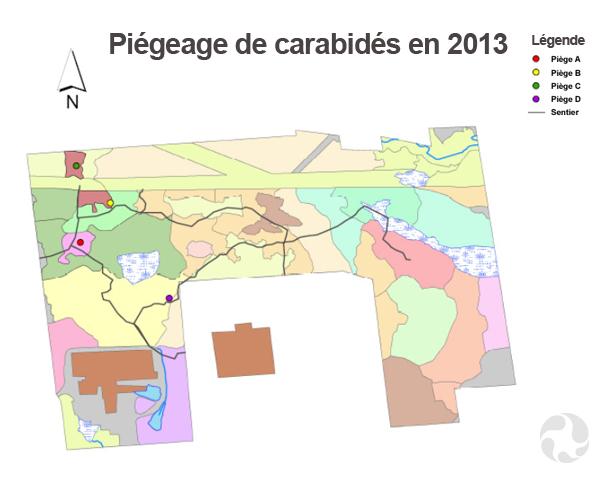 Carte avec zones colorées montrant l'emplacement des pièges à coléoptères.