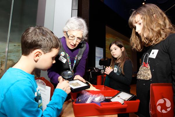 Des enfants examinent à la loupe un spécimen de lichen que leur présente une bénévole.