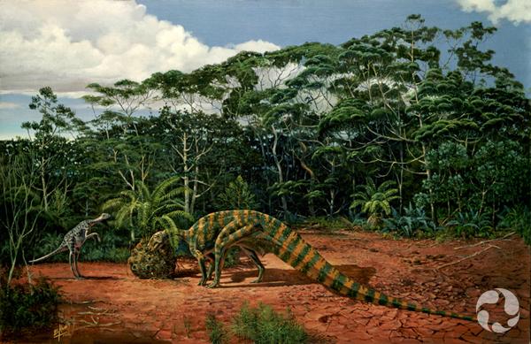 Une peinture représentant deux dinosaures dans leur habitat.