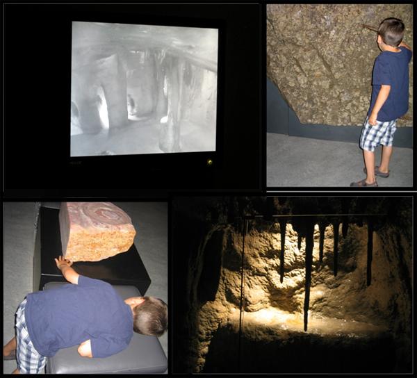 Collage de quatre photos montrant différentes facettes de la grotte située dans la Galerie de la Terre Vale.