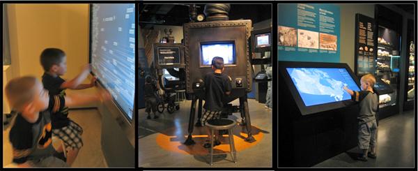 Collage de trois photos montrant deux garçons utilisant des écrans interactifs dans des galeries du Musée.