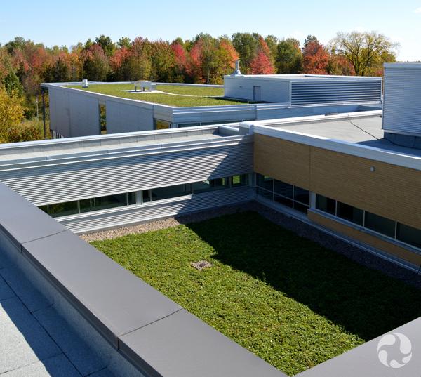 Deux espaces de toit vert sur l'édifice.