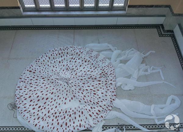 Vue en plongée de la méduse dégonflée étendue sur le sol de la mezzanine.