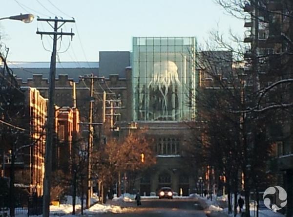 Vue extérieure du Musée, de jour, montrant la façade de l'édifice et la méduse suspendu dans le lanternon vitré.