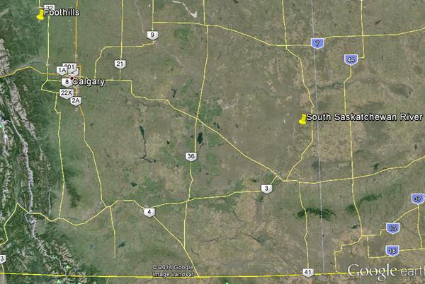 Carte du sud de l'Alberta montrant les deux endroits que Jordan Mallon explorera à la recherche de fossiles de dinosaures.