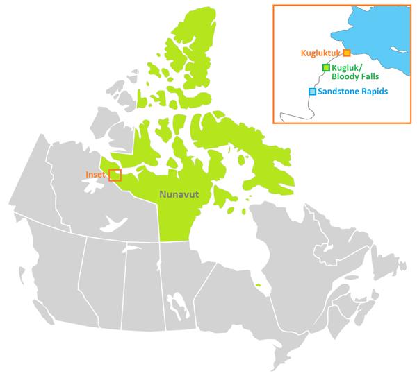 Carte du Canada où l'on voit dans un encadré l'emplacement de Kugluktuk, du parc territorial Kugluk/Bloody Falls et de Sandstone Rapids le long du fleuve Coppermine, au Nunavut.