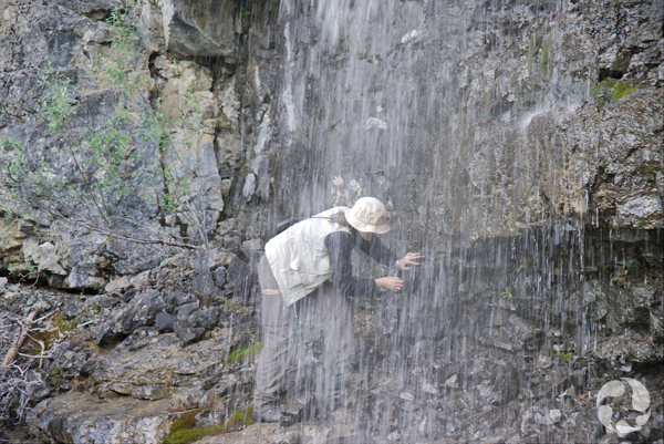 Jennifer Doubt cherchant des mousses derrière une chute.