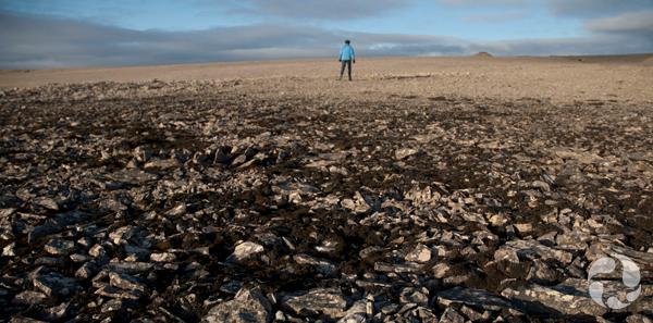 Une femme debout, au loin dans un paysage plat.
