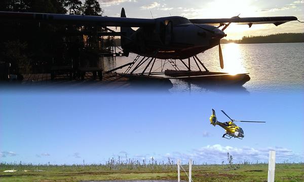 Un hydravion à côté d'un quai. Un hélicoptère s'élevant au-dessus d'un quai.