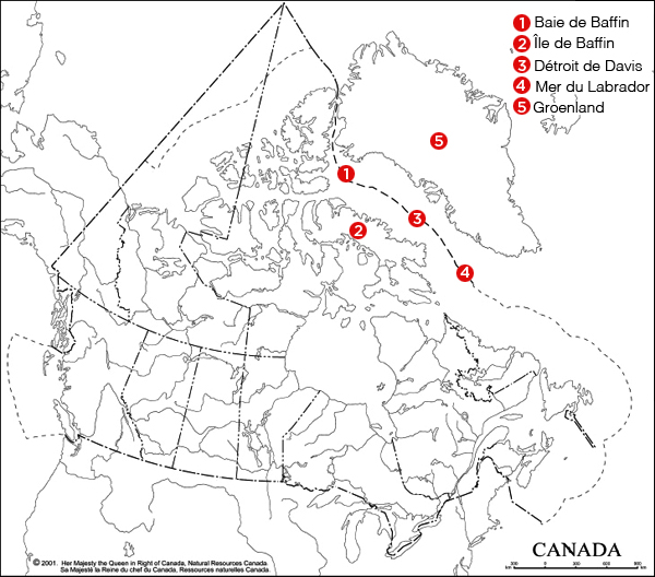 Carte indiquant l'emplacement du détroit de Davis.