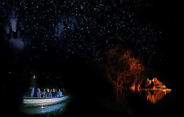 Visiteurs dans un petit bateau admirant la voute étoilée de la caverne.