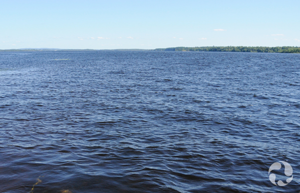 Vue d'un grand plan d'eau en été.