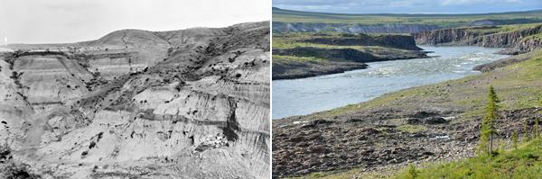 Vue panoramique de deux lieux de recherche. Une image en couleur datant de 2014 et une seconde en noir et blanc datant de 1915.