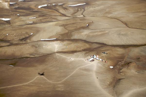 Vue aérienne du site du projet Haughton-Mars.
