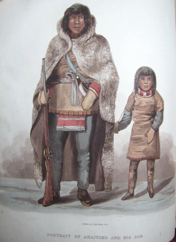 Un homme et un enfant en costume d'époque.