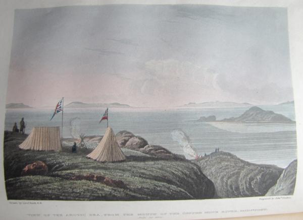Illustration en couleur de tentes installées près de la rive et arborant le drapeau britannique.