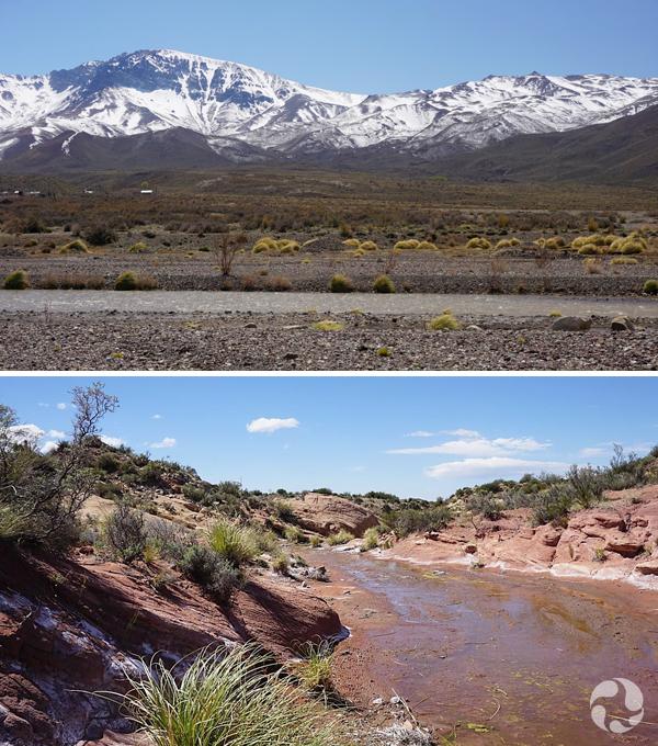 Collages de photos : Chaîne de montagnes aux sommets enneigés. Lit d'une rivière entre les rochers.
